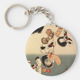 Cats forming the caracters for catfish by Utagawa Basic Round Button Keychain