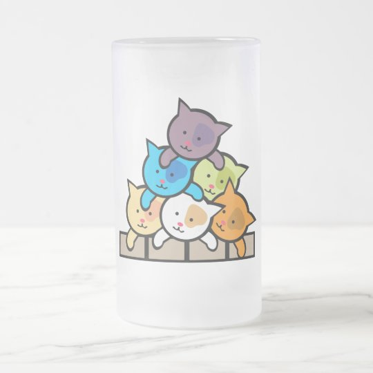Cats Frosted Glass Beer Mug
