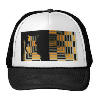 Cats Gold Grey Black Ball Cap Hat Illusion Art