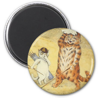 Cats Golfing Artwork by Louis Wain 2 Inch Round Magnet