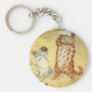 Cats Golfing Artwork by Louis Wain Keychain