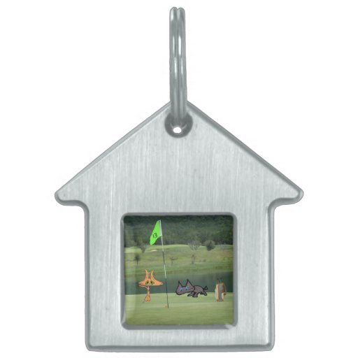 Cats Golfing On The 13 Hole Pet Name Tag