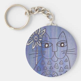 """Cat's Got the Blues"" Basic Round Button Keychain"