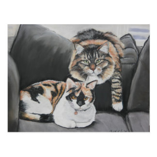Cats Hanging Out Art Postcard
