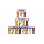 Cats Happy Birthday from Alabama Postcard