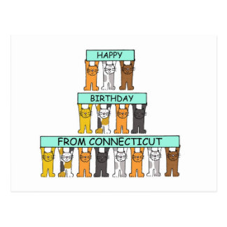 Cats Happy Birthday from Connecticut. Postcard