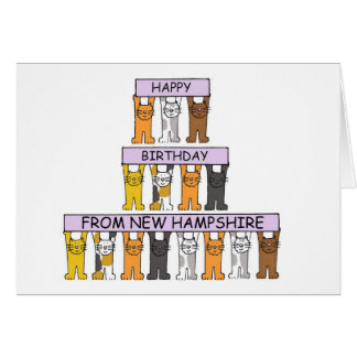 Cats Happy Birthday from New Hampshire Card