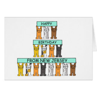 Cats Happy Birthday from New Jersey. Card