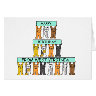 Cats Happy Birthday from West Virginia Card