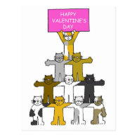 Cats Happy Valentine's Day Post Card