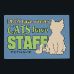 """CATS HAVE STAFF custom placemat<br><div class=""""desc"""">Change the text field to what you want. Using the &quot;customize it&quot; function,  you can also change the background color of this item,  change the fonts and its size and color,  as well as add more text if you wish. See my store for more items with this design.</div>"""