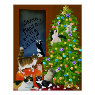 Cats Having a Merry Christmas Print