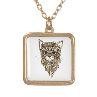 Cat's Head 3 Gold Plated Necklace