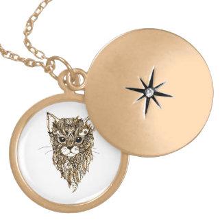 Cat's Head 3 Locket Necklace