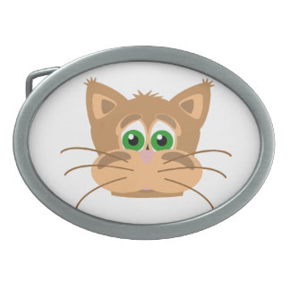Cat's Head Oval Belt Buckle