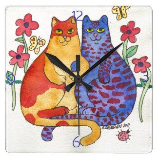 Cats Holding Hands Folk Art Square Wall Clock