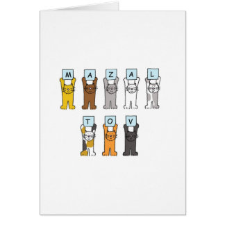 Cats holding letters saying 'Mazal Tov' Card