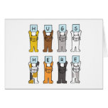 Cats Hugs Here Encouragement card. Greeting Card