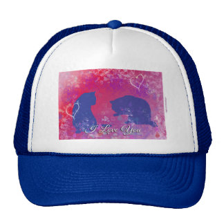 Cats: I Love You Two Cats in a Valentine Type Set Trucker Hat