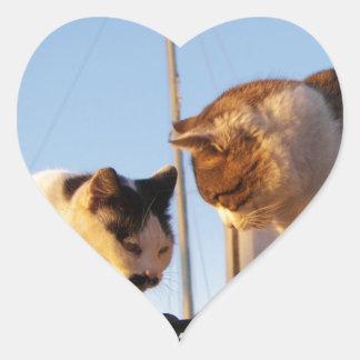 Cats In A Boatyard Heart Sticker