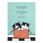 "Cats in a Packing Box | New Home Announcement 5"" X 7"" Invitation Card"