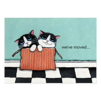 Cats in a Packing Box | We've Moved Announcement Large Business Cards (Pack Of 100)
