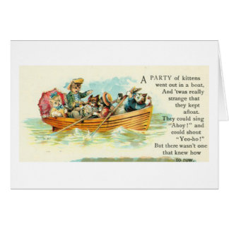 Cats in a Row Boat Card