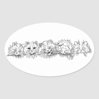 Cats in a Row Oval Sticker