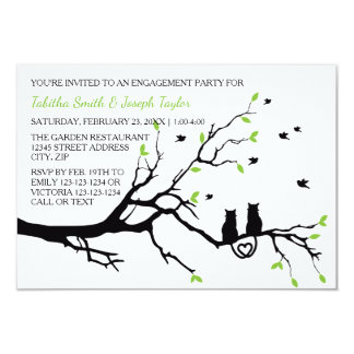 Cats in a Tree - 3x5 Engagement Party Card