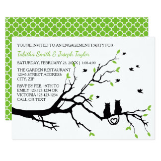 Cats in a Tree Quatrefoil - 3x5 Engagement Party Card