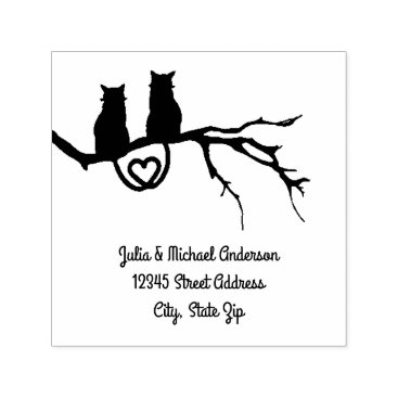 Valentines Themed Cats in a Tree Square - Self-Inking Address Stamp