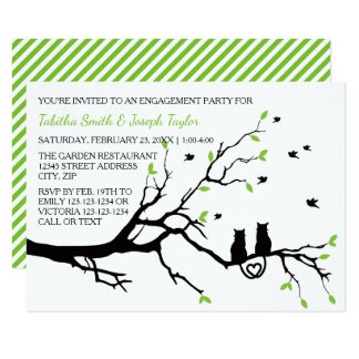 Cats in a Tree Stripes - 3x5 Engagement Party Card