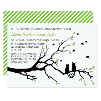 Cats in a Tree Stripes-Engagement Party Invitation