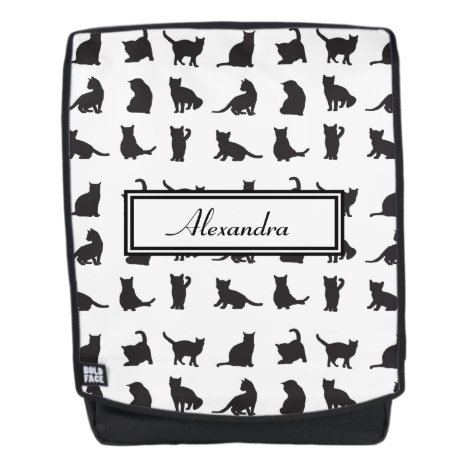 Cats in Black Silhouette Pattern with First Name Backpack