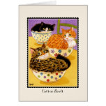 Cats in Bowls Greetings Card Card