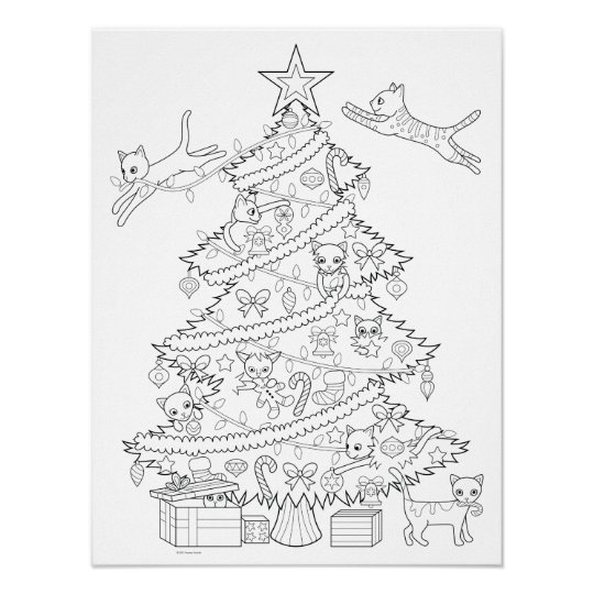 Cats in Christmas Tree Coloring Poster   Zazzle.com