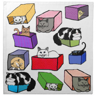 Cats in Colorful Boxes American MoJo Napkin