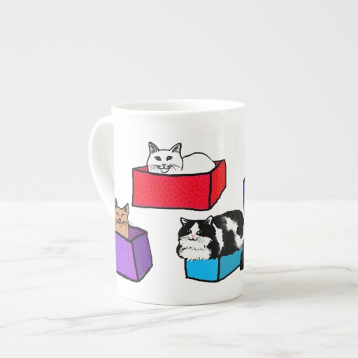 Cats In Colorful Boxes Bone China Mug Zazzle