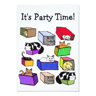 Cats in Colorful Boxes Customizable Invitation