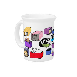 Cats in Colorful Boxes Pitcher