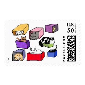 Cats in Colorful Boxes Postage