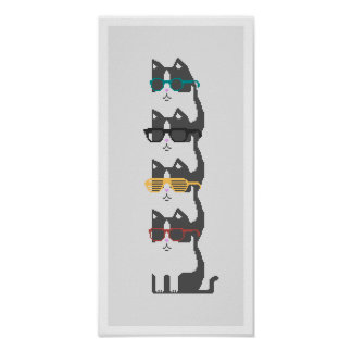 Cats In Glasses Pile Pixel Art Poster