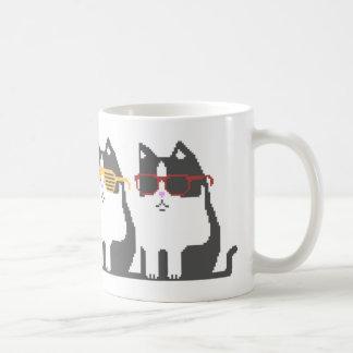 Cats In Glasses Row Pixel Art Mug