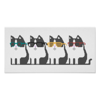 Cats In Glasses Row Pixel Art Poster