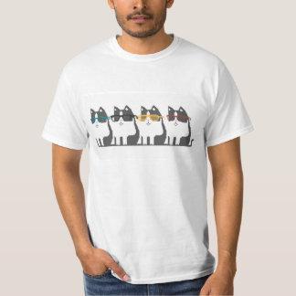 Cats In Glasses Row Pixel Art Tee Shirt