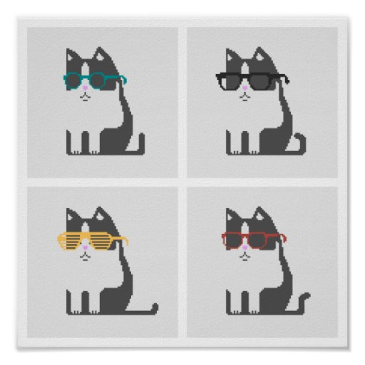 Cats In Glasses Square Pixel Art Poster