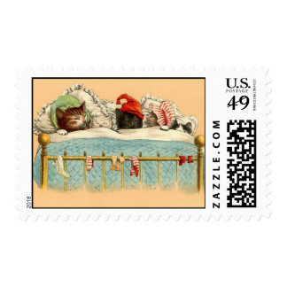 cats in hats asleep in bed postage stamp