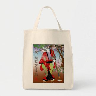 Cats in Kimono: Samurai Gardeners -- Dandelion Grocery Tote Bag
