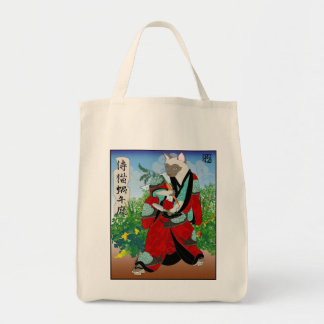 Cats in Kimono: Samurai Gardeners -- Snails Grocery Tote Bag