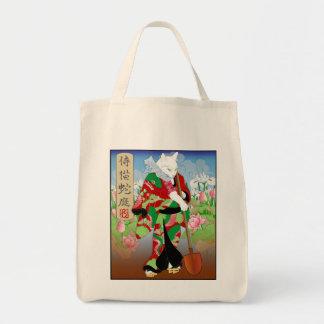 Cats in Kimono: Samurai Gardeners -- Snake Grocery Tote Bag